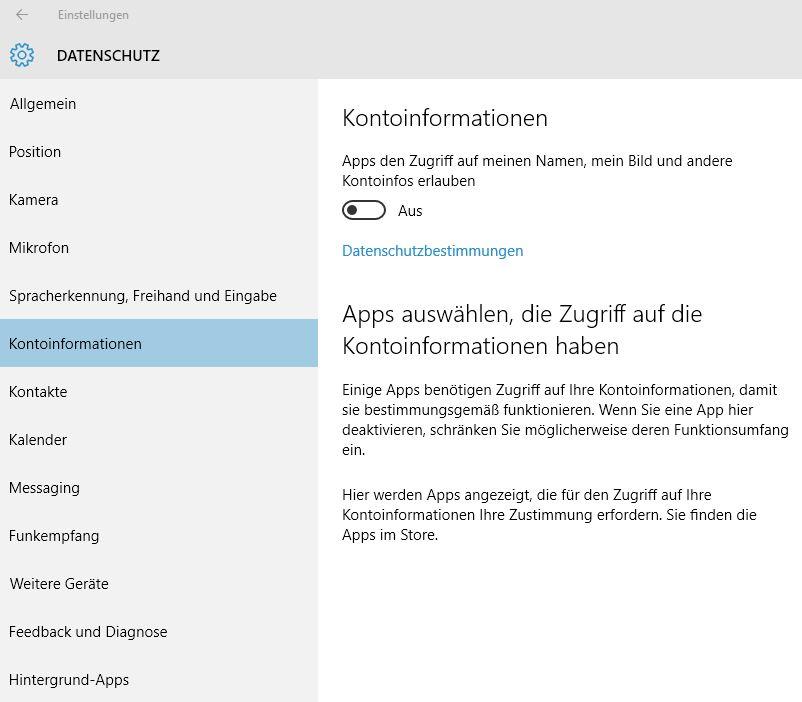 Windows 10 Datenschutz Kontoinformationen