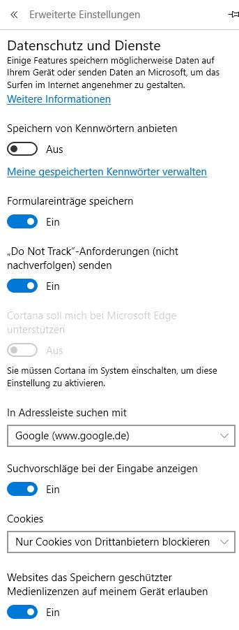 Windows 10 Datenschutz Microsoft Edge Browser