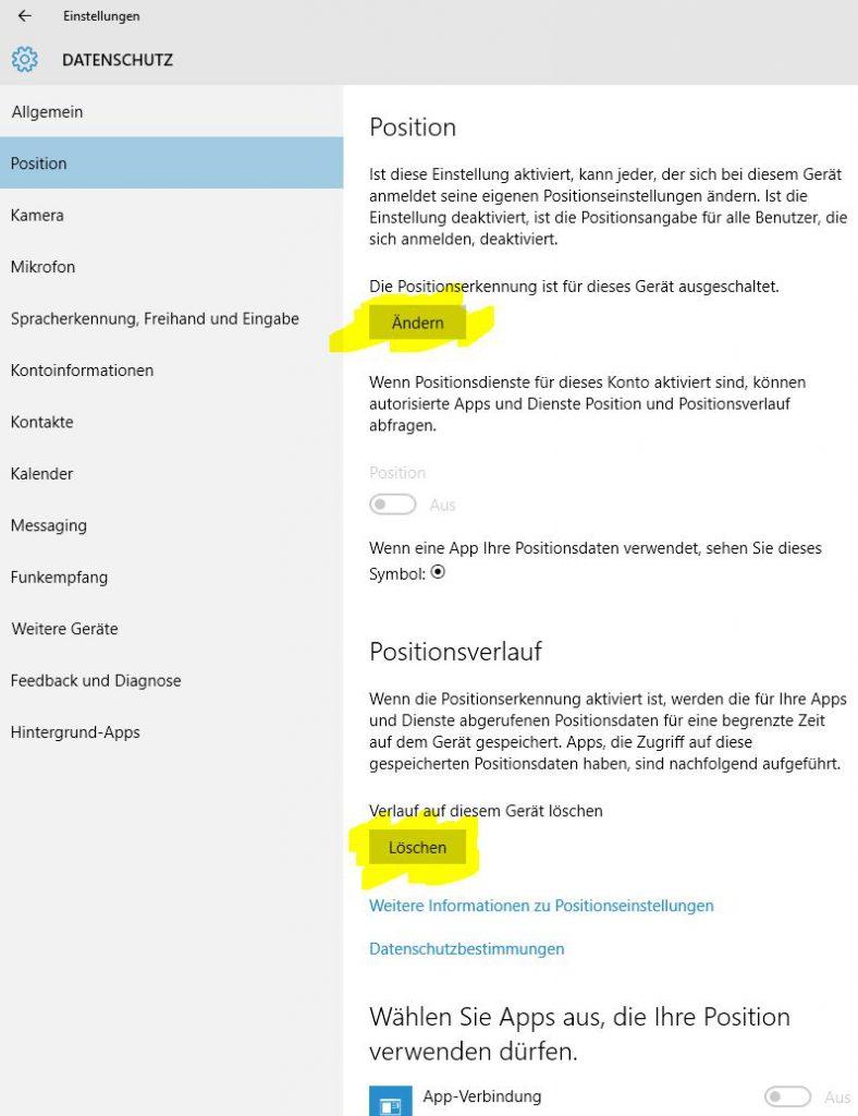 Windows 10 Datenschutz Positionsbestimmung