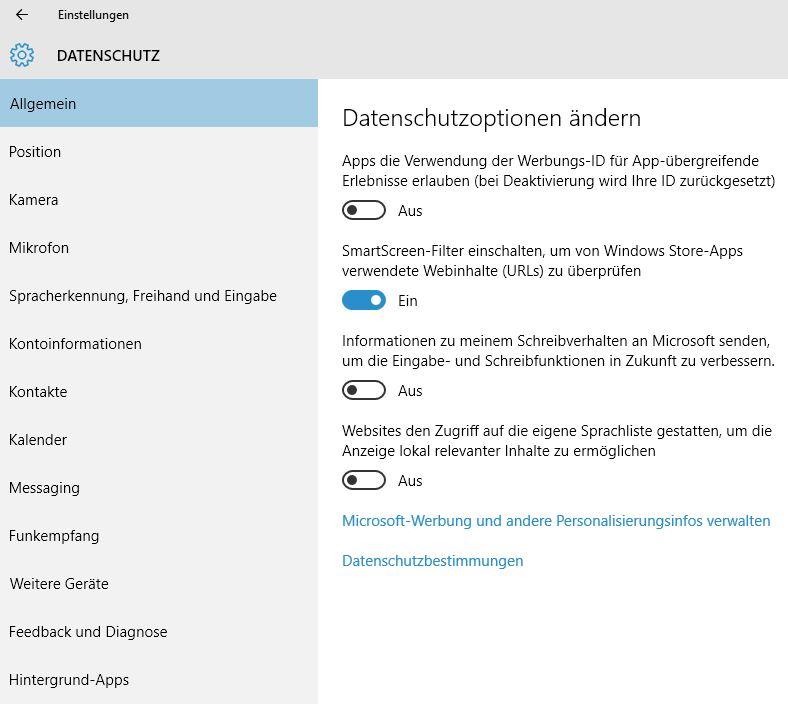 Windows 10 Datenschutz anpassen